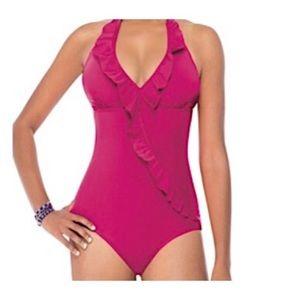 ASSETS SPANX | Sara Blakely Pink Ruffle Swimsuit L